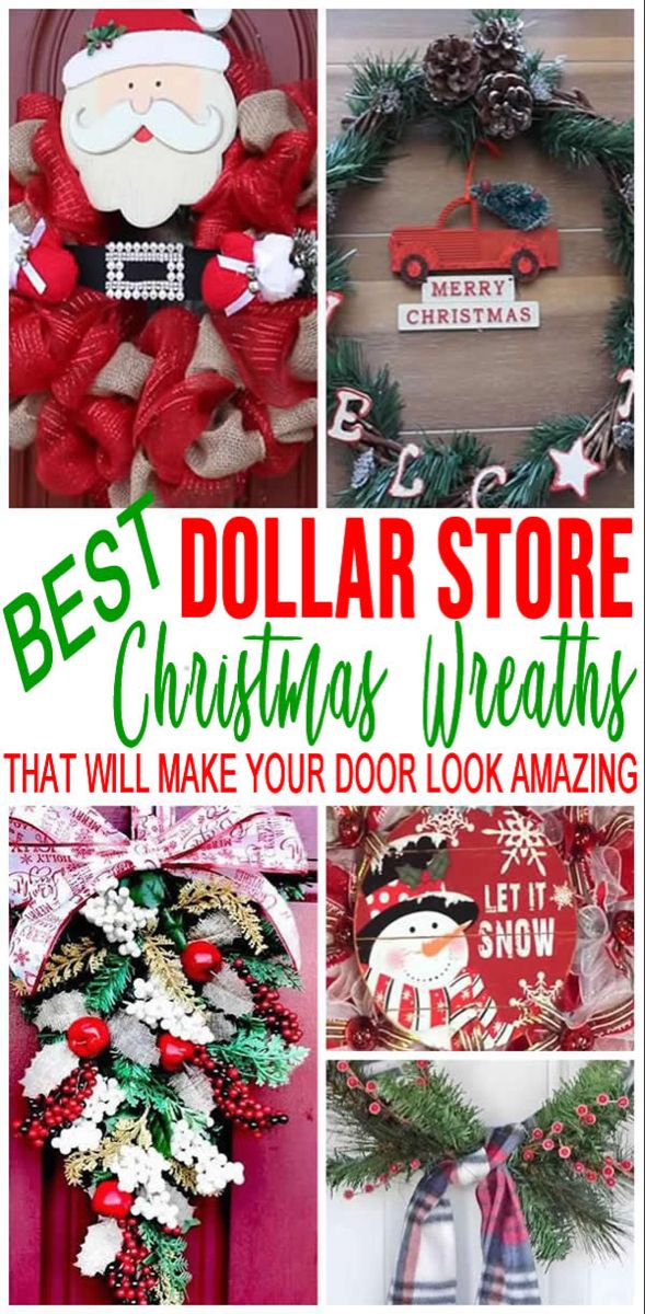 BEST Dollar Store Christmas Wreath! DIY Holiday Wreath Ideas – Learn How To Make Wreaths To Make Your Front Door Look Amazing – Dollar Store Hacks – Homemade Christmas Decor #dollarstores