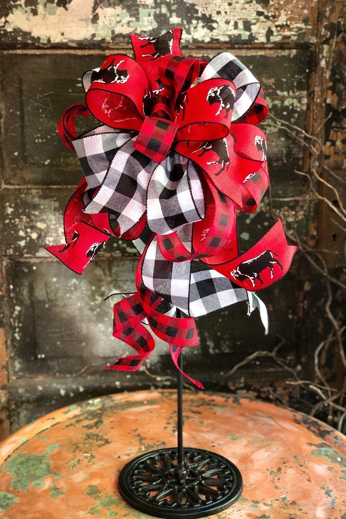 The Buffalo Bill Red Black & White Buffalo Check Bow | Tree topper bow, Gold christmas tree, Bow ...