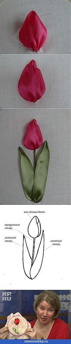 мк вышивка лентой(тюльпан). #ribbonflower