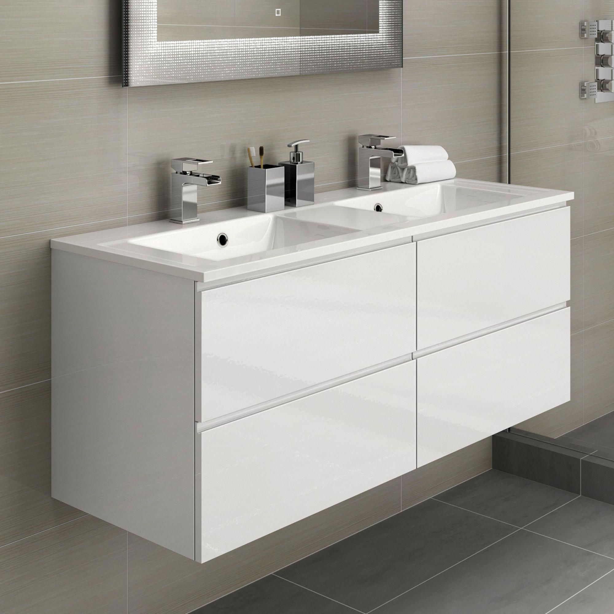 1200mm Trevia High Gloss White Double Basin Cabinet Wall Hung Ensuitebathroomideas Bathroom Vanity Units Bathroom Furniture Storage Double Vanity Bathroom