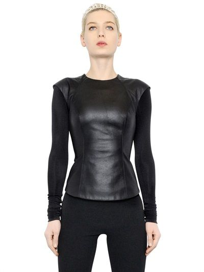 349eced2185 GARETH PUGH - NAPPA LEATHER   MODAL BLEND JERSEY TOP - LUISAVIAROMA - LUXURY  SHOPPING WORLDWIDE SHIPPING - FLORENCE