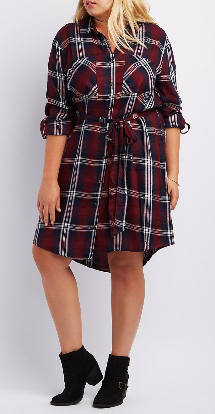 Plus Size Belted Plaid Shirt Dress | Fashion I Love | Mode ...