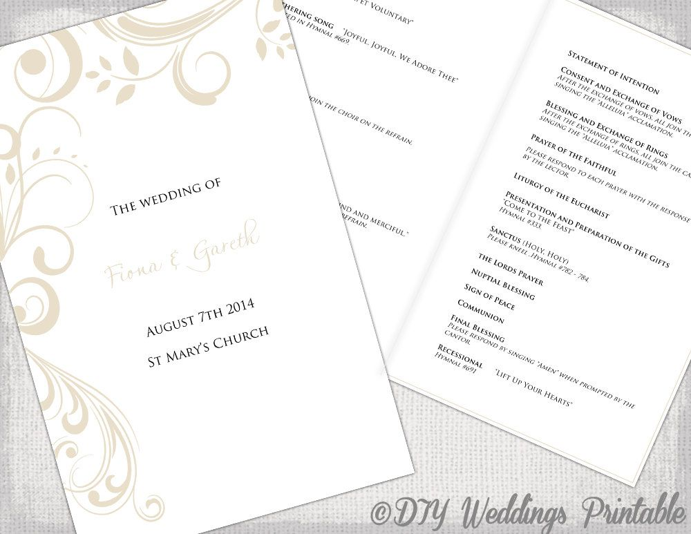 Catholic Wedding program template Champagne  - booklet template