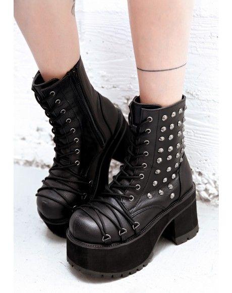 bacab91d5ca5  DollsKill  lookbook  photoshoot  model  Demonia  devastation  platform   boots  black  studs  studded  laces  straps  shoes