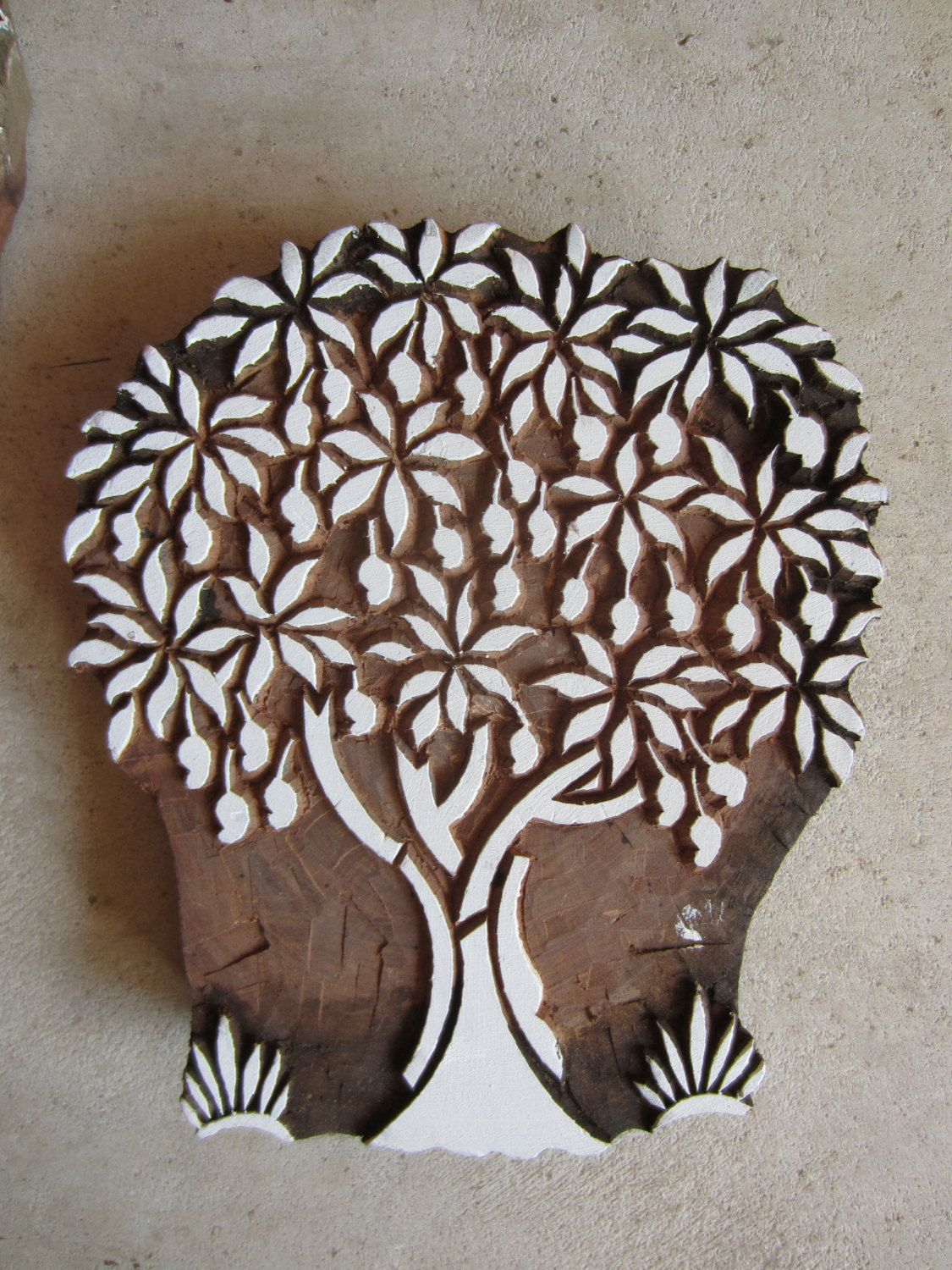 mango tree block print hand carved via etsy. Black Bedroom Furniture Sets. Home Design Ideas