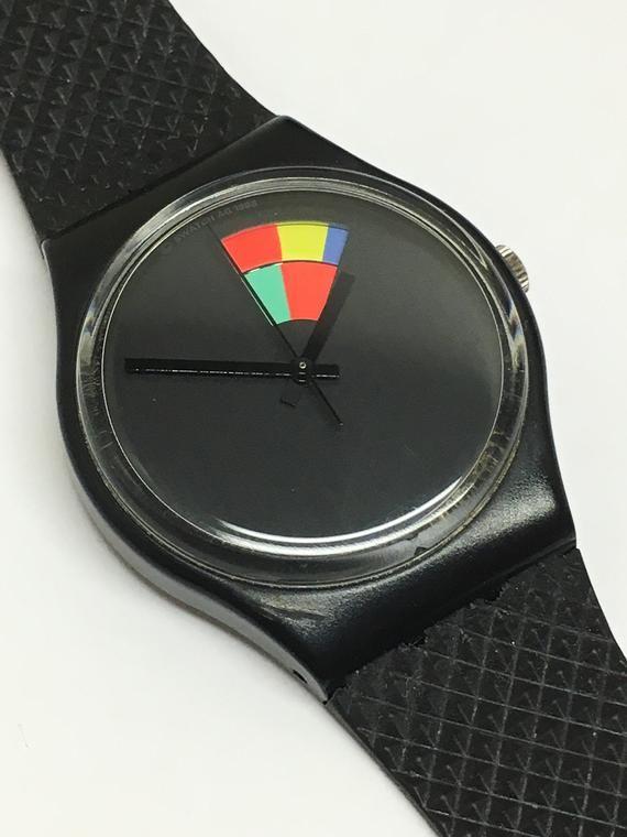 Vintage Swatch Watch Color Window Gb715 1989 Black Multi Color Wheel Change Retro Christmas Holiday En 2020 Reloj