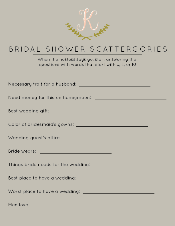 Bridal Shower Games Scattergories Was Particularly Popular At Roses