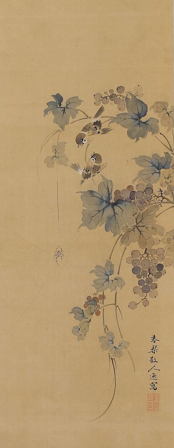 Japanese Fine Art Wall Hanging Painting Antique Sparrows in Grapes ...