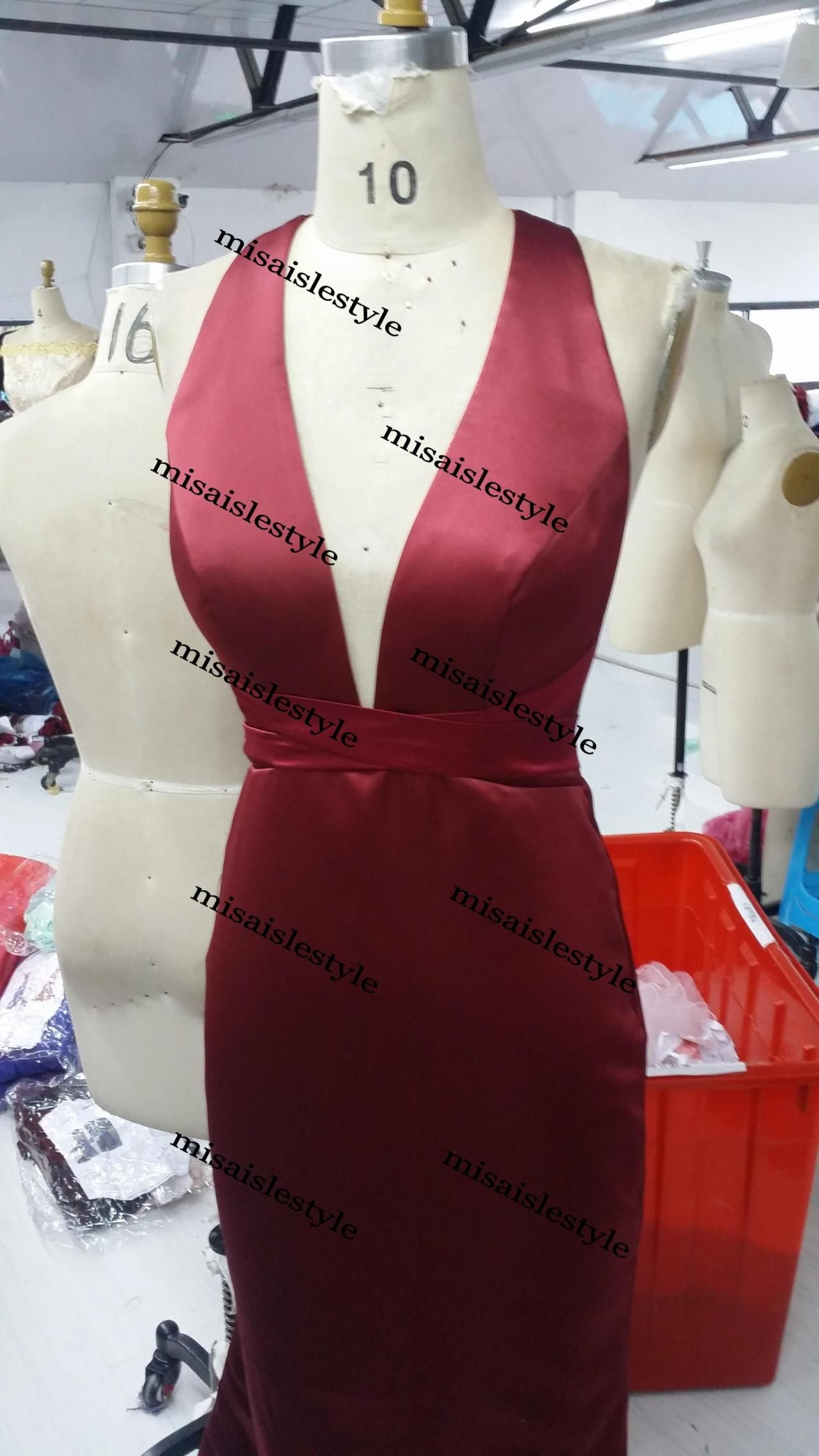Sexy mermaid open back evening dres deep burgundy prom and neckline