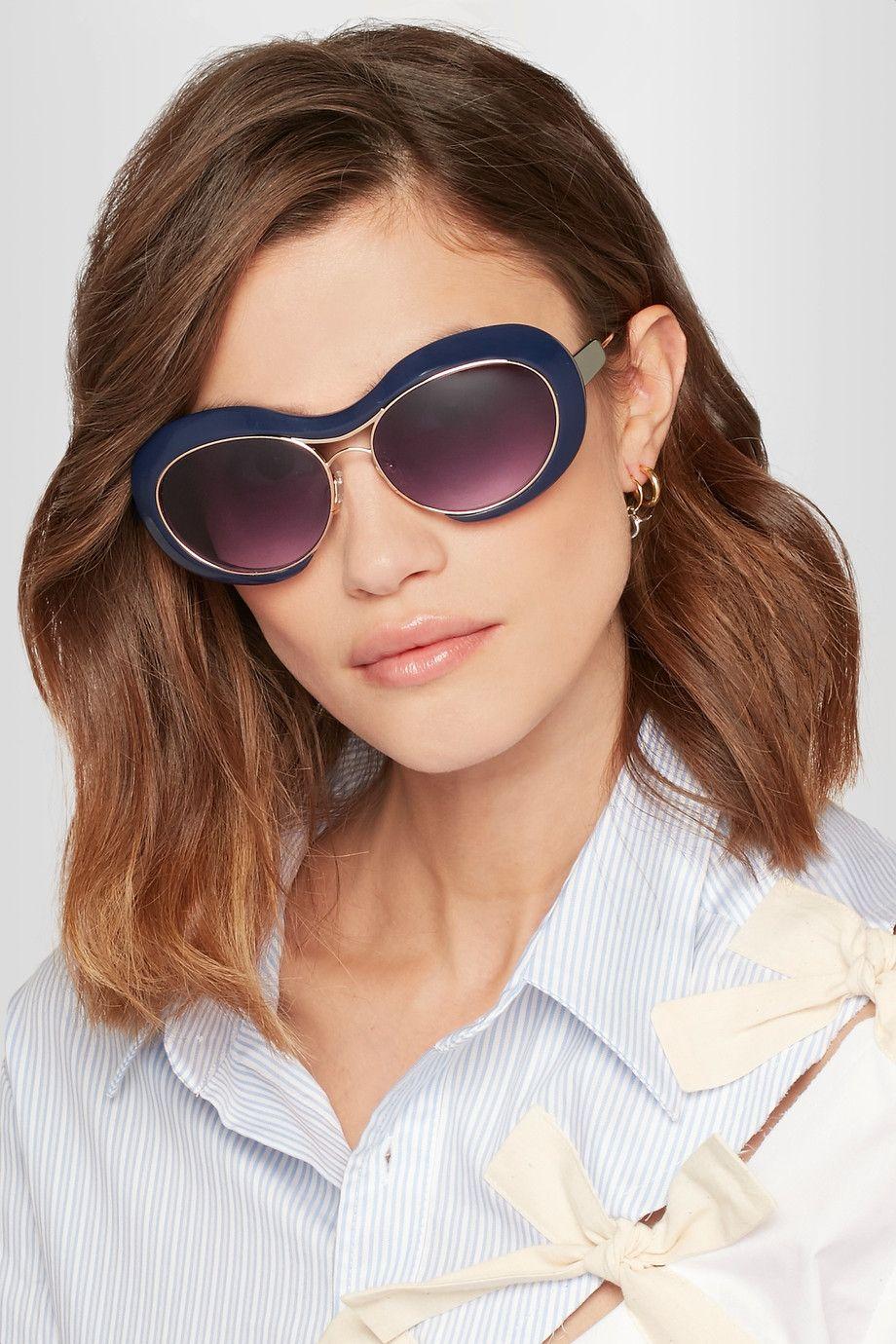 Sacai   + Linda Farrow round-frame acetate and gold-tone sunglasses   NET-A-PORTER.COM