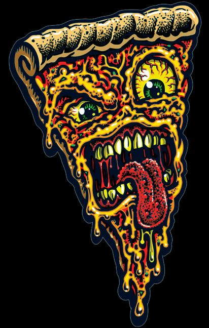 PIZZA FACE vinyl sticker with artwork created by legendary