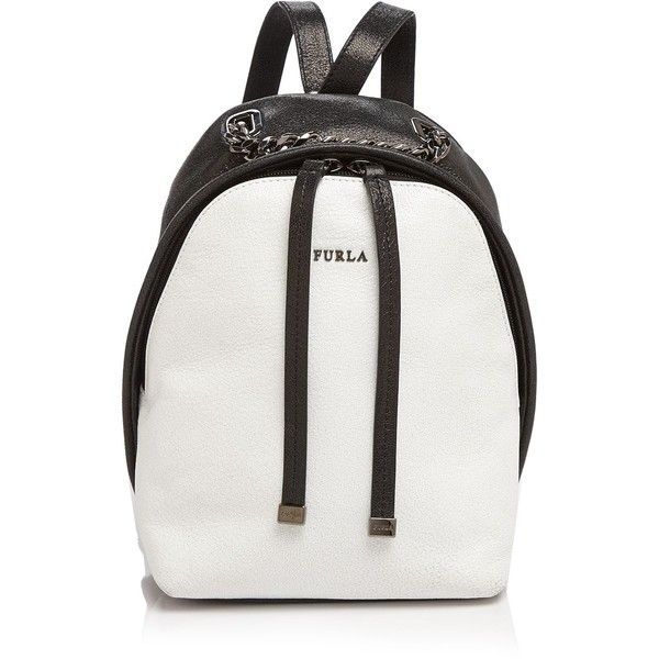 Furla Spy Color Block Mini Backpack ($528) ❤ liked on Polyvore featuring bags, backpacks, white leather backpack, backpacks bags, leather knapsack, colorblock backpack and miniature backpack