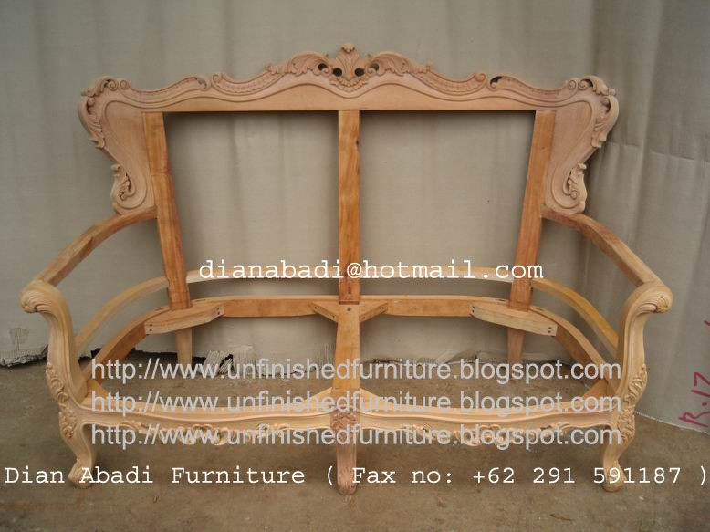 Unfinished mahogany Furniture, Sevia Felipe carved wooden frame love seat  for living room , made