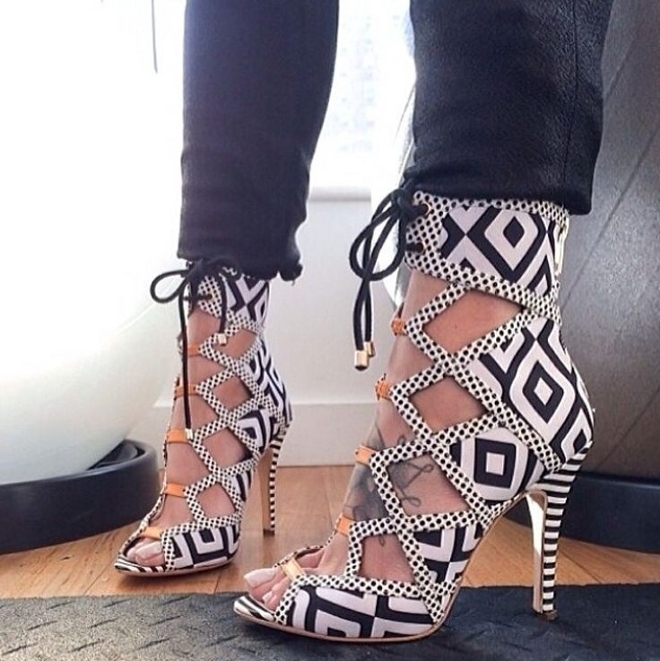 b32cfbf0a343 Black and white aztec cutout shoes. Women s summer footwear pumps ...