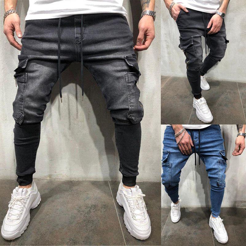 3 Styles Men Stretchy Skinny Biker Slim Fit Denim Men Multi Pocket Zipper Pencil Pants Men Casual Jeans Fashio In 2021 Skinny Jeans Men Mens Outfits Hip Hop Sweatpants