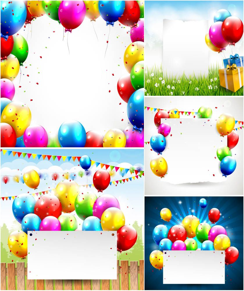Birthday background with balloons vector – Free Vector Birthday Cards