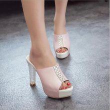 9ba8532618c Tamaño grande 34-39 moda tacones altos chanclas boca de los pescados  sandalias para mujeres · Women SandalsShoes StyleSlippersWoman ...
