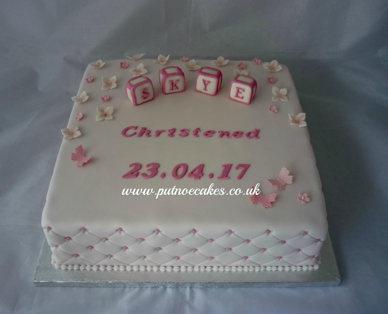 Square Pink Girl S Christening Cake Baby Building Blocks