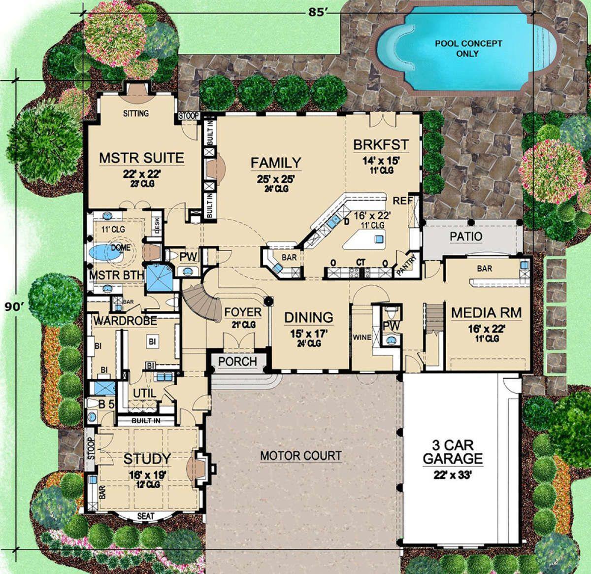House Plan 5445 00317 Mediterranean Plan 5 956 Square Feet 3 Bedrooms 6 Bathrooms In 2021 Courtyard House Plans Monster House Plans House Plans