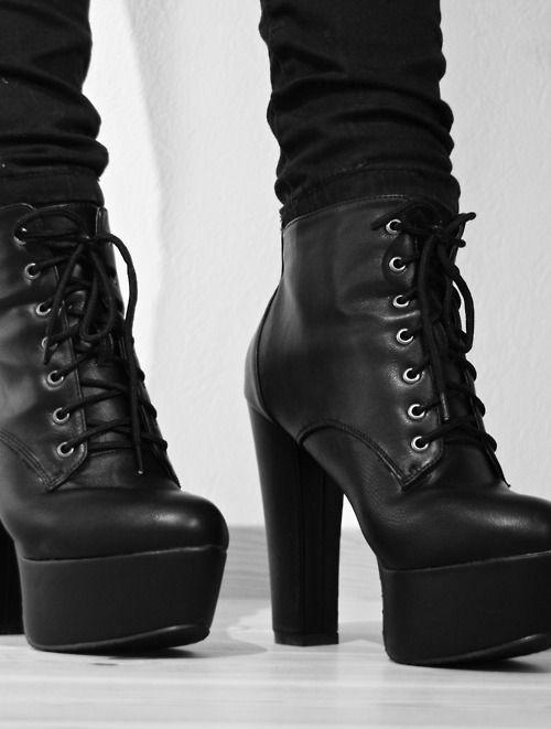 high heeled combat booties