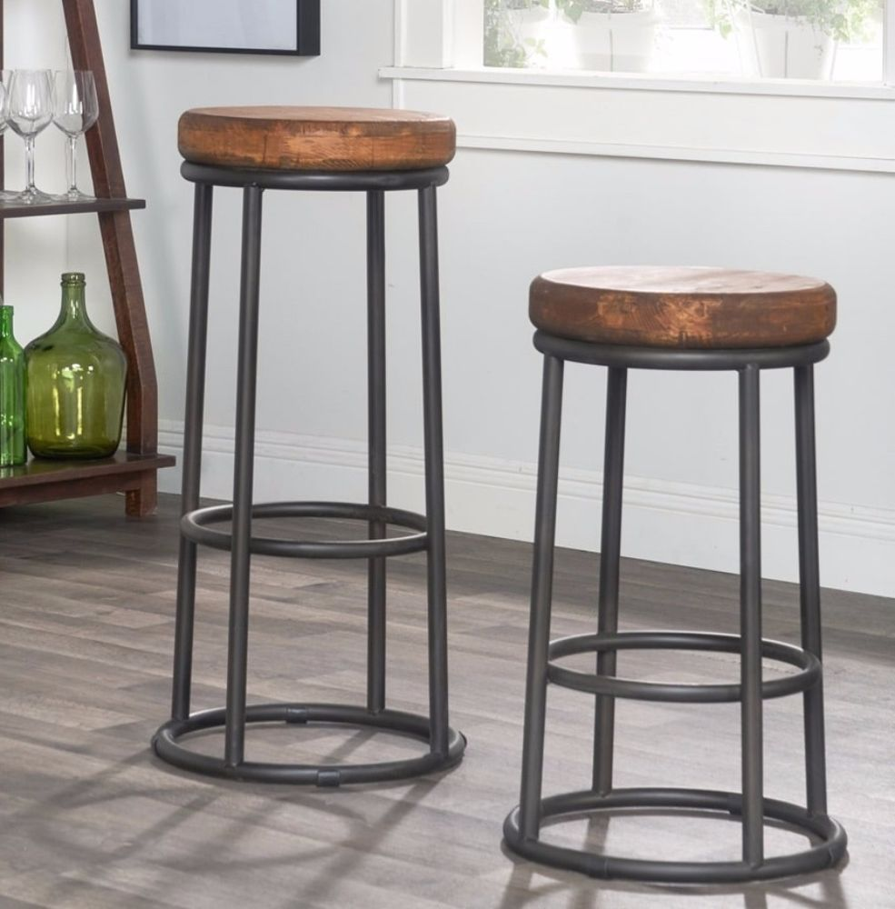 Clic Willow Reclaimed Wood Iron 24 Inch Backless Counter Stool Furniture