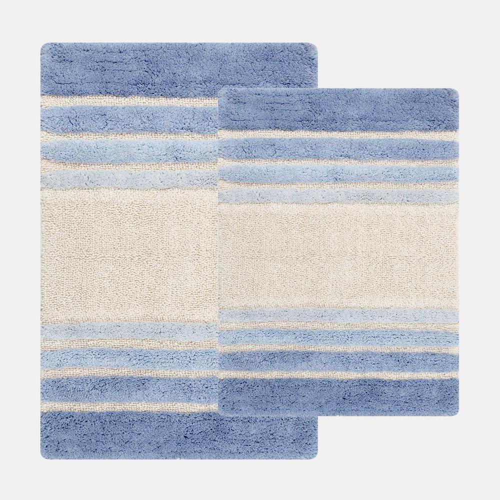 Chesapeake Merchandising 20 In X 32 In And 23 In X 39 In 2 Piece Tuxedo Stripe Bath Rug Set In Blue 37322 The Home Depot Bath Rugs Sets Striped Bath Rug Rug Sets [ 1000 x 1000 Pixel ]