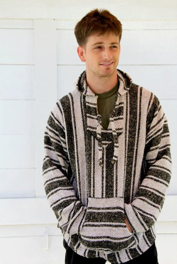 069cdb3b1 MENS Black and White Mexican Poncho Sweater Hoodie Pullover Mens ...