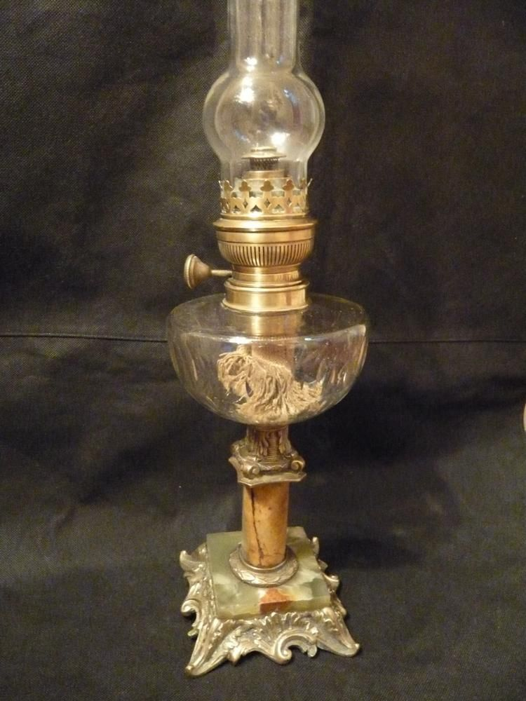 Grande Lampe A Petrole Bronze Style Louis Xv Du Xixe Oil Lamps