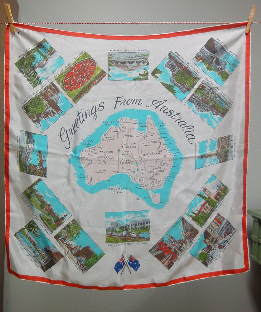 Vintage Souvenir Silk Scarf Greetings From Australia 1960s 2300