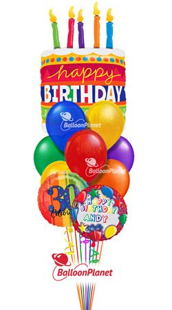 Birthday Cake Balloon Bouquet Name Optional Age Select Your Colors 3 Mylars 9 Latex Helium Filled And Hand Delivered From 5995 Fees