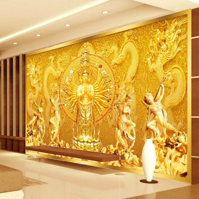 Gold buddha photo wallpaper custom 3d wall mural for Mural designs