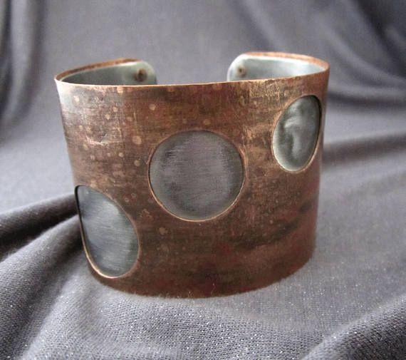 cuff bracelet metal cuff mixed metal bracelet mixed metal jewelry firednwiredjewelry