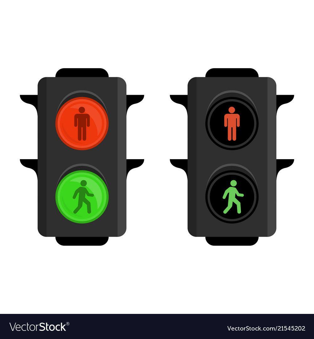 Pedestrian Traffic Lights Vector Image On Vectorstock Traffic Light Lights Traffic