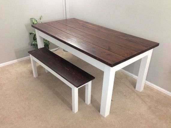 Beau Rustic Hand Crafted Farmhouse Table. (Red Mahogany / White Base) The Table  Is Made Out Of Solid Long Leaf Pine With A Red Mahogany Finished