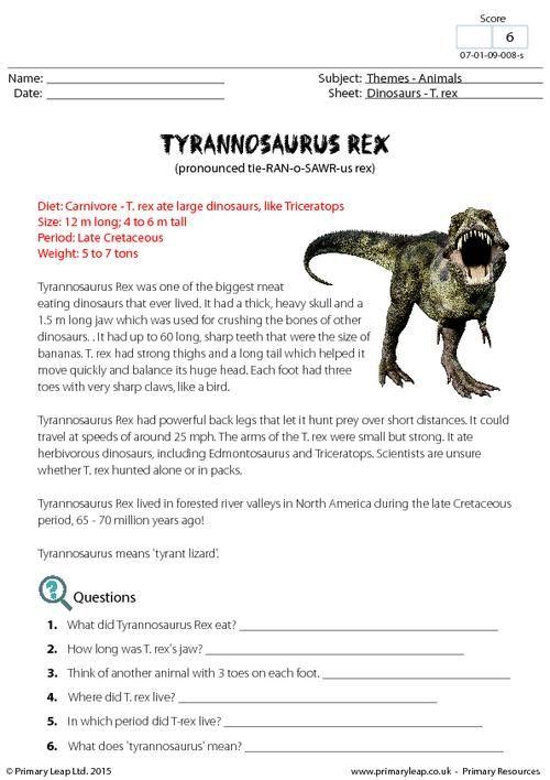 PrimaryLeap.co.uk - Fact Sheet - Tyrannosaurus Rex Worksheet ...