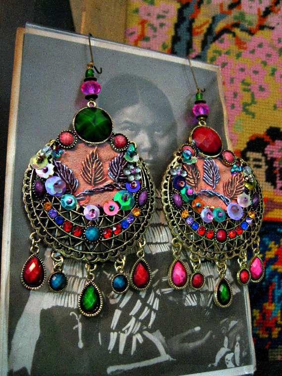 Moon Dance Earrings, Large, Antique Silk Embroidery, Filigree, Beaded, Colourful, Bohemian, Gypsy, Boho. $85.00, via Etsy.