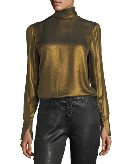 8fa54314e FRAME TURTLENECK LONG-SLEEVE METALLIC BLOUSE, GOLD. #frame #cloth ...