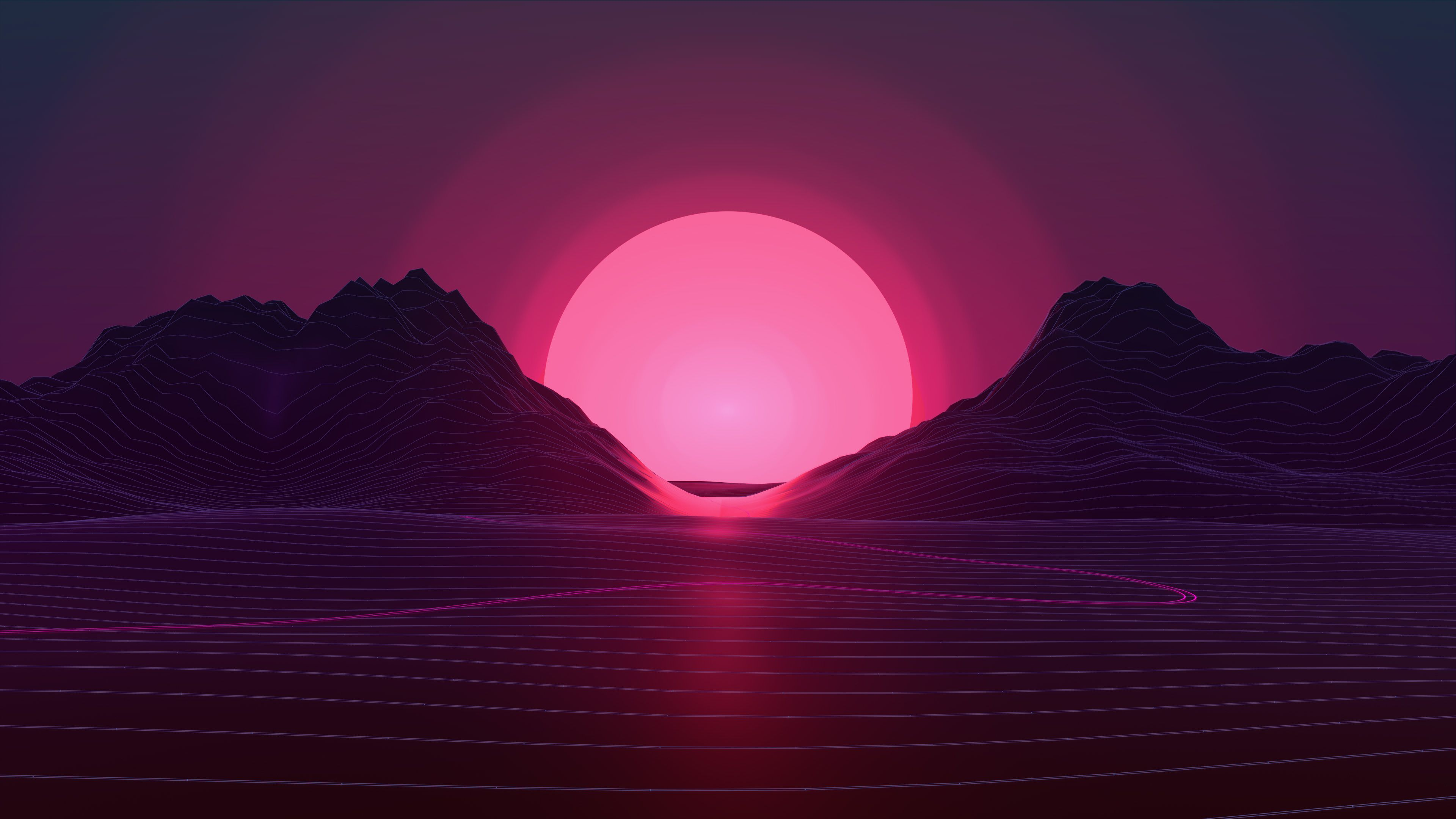 Vaporwave Sunset 4k Vaporwave Wallpaper Sunset Wallpaper Neon Wallpaper