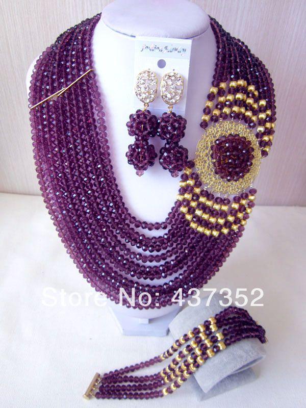 Fashion Nigerian Wedding African Beads Jewelry set Purple Crystal ...