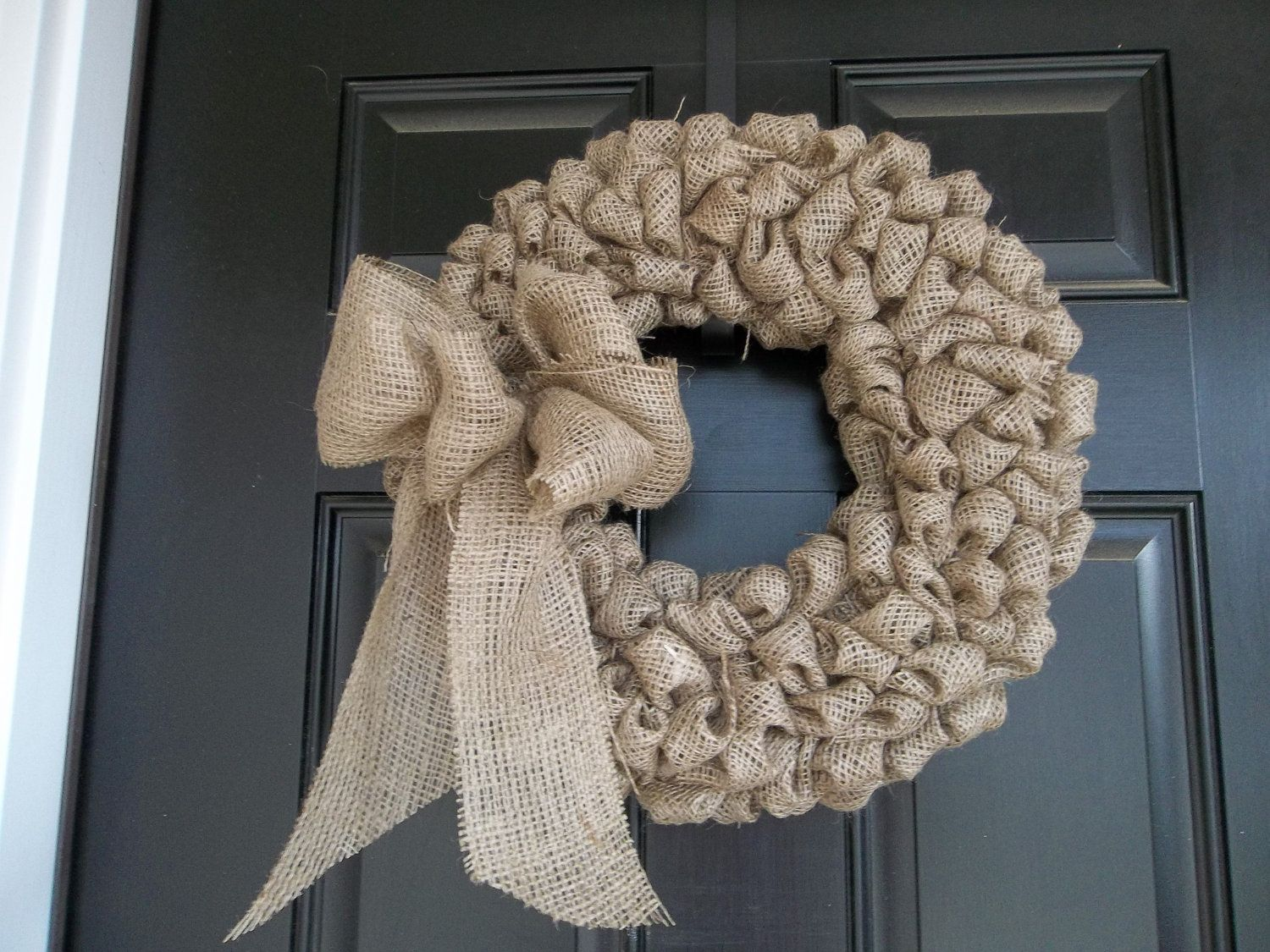 16 Natural Color Burlap Wreath by cindidavis1 on Etsy, $28.00