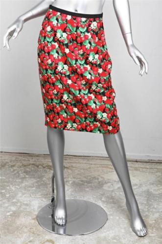 b6144a26ad DOLCE & GABBANA Red Black Floral Strawberry Printed Silk Pencil Skirt sz.  42 NEW