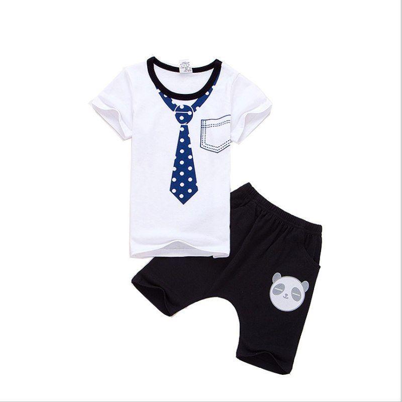 91d0f344f 2019 boys girls summer suits T-shirts children necktie pattern Tees+ ...