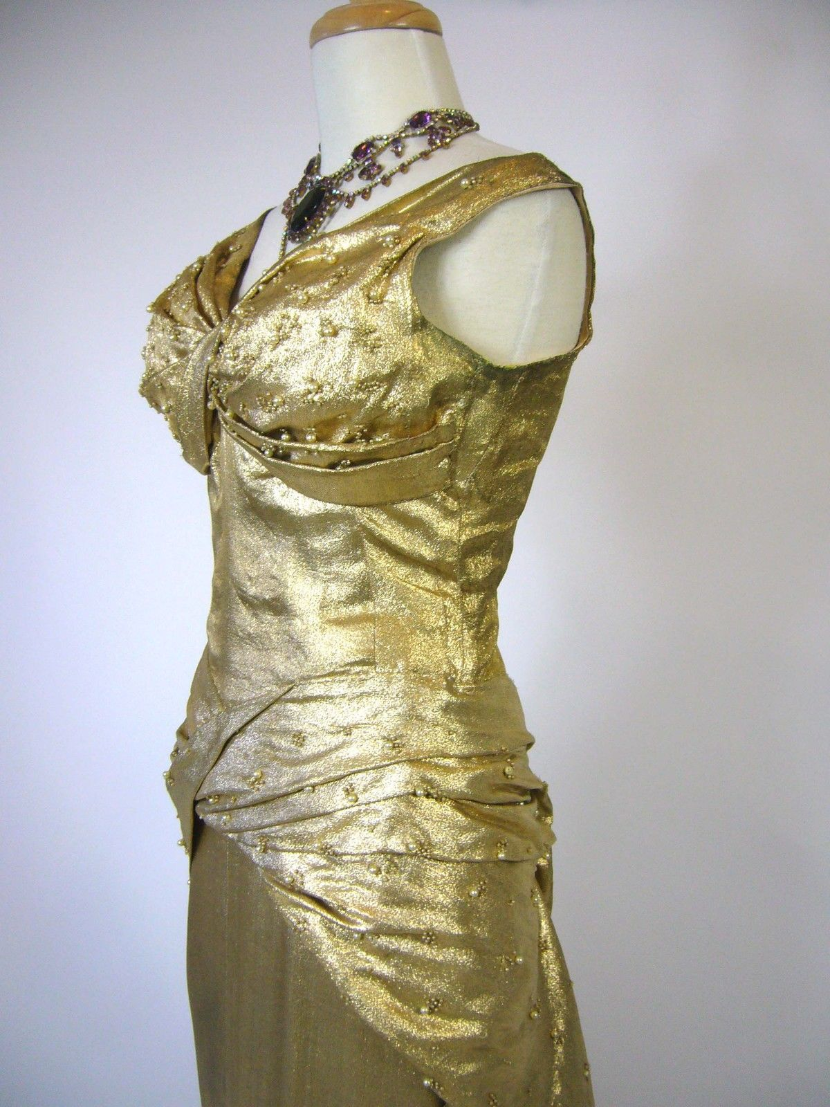 S hollywood glamour silk luxurious gold lame ball gown dress