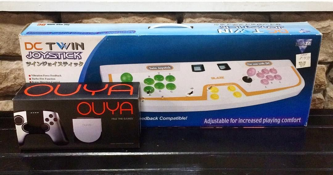 Interesting one by killscreengames #dreamcast #microhobbit (o) http://ift.tt/236zbrA cool trade ins.. An opened but unused Ouya system and a pretty hard to find Dreamcast 2 player arcade stick!