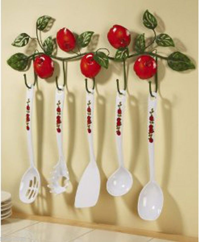 Apple decor utensils and hanging rack hanging racks and for Apple decoration ideas