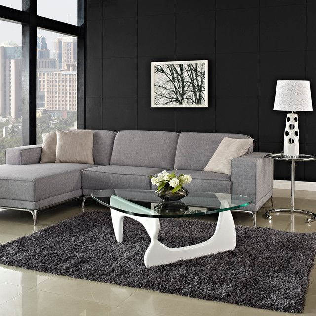 glas weiss couchtisch ideen modern noguchi design grauer teppich wohnzimmer pinterest. Black Bedroom Furniture Sets. Home Design Ideas