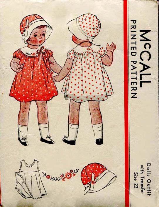 1930s Doll Dress Pattern Vintage McCall Original Dress for 22 Inch ...