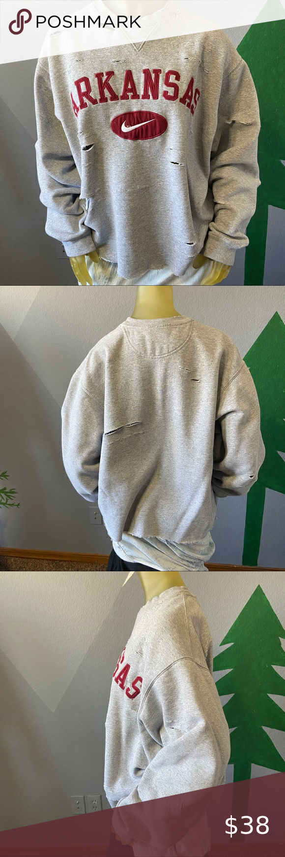 Nike Vintage Arkansas Razorbacks Sweatshirt M In 2021 Vintage Nike Sweatshirt White Nike Sweatshirt Vintage Nike [ 1740 x 580 Pixel ]