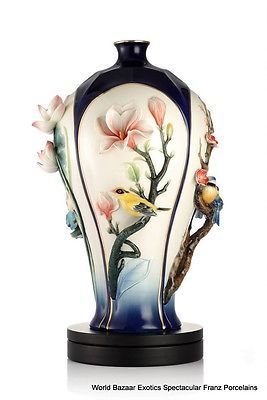 FZ03104-Franz-Porcelain-FOUR-SEASONS-FLOWERS-AND-BIRD-Ltd-988-new-special-order