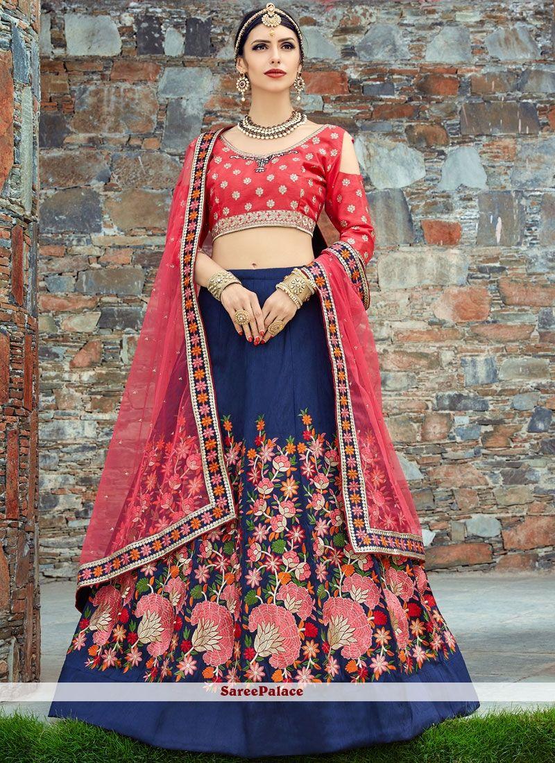 de9e21edfb Blue and Red Patch Border Work Lehenga Choli | Designer lehenga ...